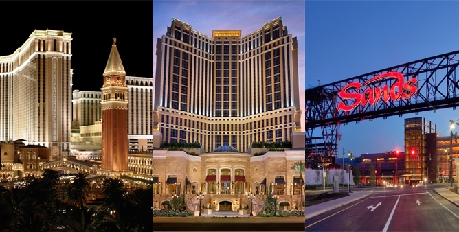 A composite of three casino images